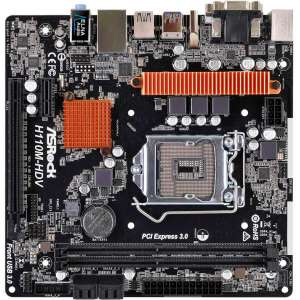 Placa base S1151 ASRock H110M-HDV R3.0 2DDR4/PCIE/4SATA3/4USB3/PCI/VGA/DVI/HDMI/mATX
